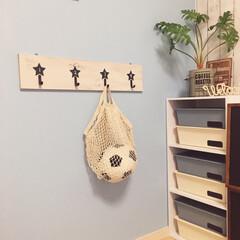 壁掛/壁掛けフック/星/簡単DIY/西海岸インテリア/子ども部屋/... 端材とセリアのシックスターウッドガーラン…(1枚目)