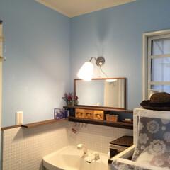 洗面所/赤ちゃんの産着色/ブルー/壁/ペイント/ペンキ/... 初めてペンキを塗った場所。 ドキドキしな…