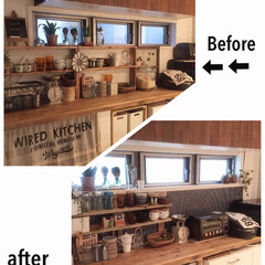 キッチン/模様替え/壁紙屋本舗/ハッテミー/DIY/食器棚/... キッチンカウンターの模様替えをしました☆…