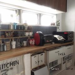 キッチン/カウンター/DIY/収納/食器/IKEA/... 色んな収納ケースでキッチンカウンター下の…