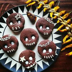 マシュマロ/ココアクッキー/ドクロ/クッキー/ハロウィン ドクロ💀Cookie  マシュマロをサン…