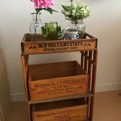 グリーン/DIY/住まい/収納 お気に入りの木箱に合わせてスノコで棚を作…