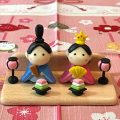 粘土細工/手のひらサイズ/雛祭り/雑貨/100均/ダイソー/... 2018年の雛祭り 雛人形🎎が出来上がり…(1枚目)