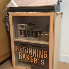 ステッカー/DIY/雑貨/ダイソー/家具/収納 キッチンカウンターに置くショーケース作り…