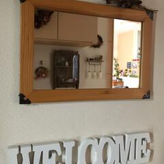 鏡/雑貨/住まい/玄関/建築 玄関に鏡をつけてみました✨ 部屋でスタン…