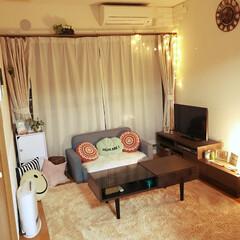 アパート/賃貸/リビング/グリーン/DIY/雑貨/... 我が家の6畳のリビング(๑˃̵ᴗ˂̵) …