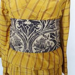 ウィリアムモリス/半巾帯/黄八丈 ウィリアムモリスの半巾帯と黄八丈