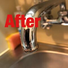 お掃除/キッチン/お風呂場/洗面所/トイレ/暮らし/... 古い蛇口についた水垢。 取りたくなりませ…