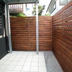 フェンス/目隠し/境界/木製/ウッドデッキ 目隠しフェンス  お隣との境にフェンスを…