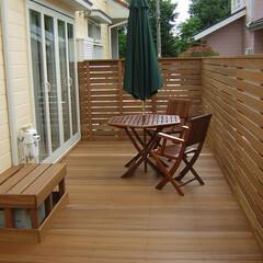 庭/ウッドデッキ/フェンス/目隠し/境界 庭先のウッドデッキ  庭一杯にウッドでき…