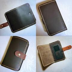 ハンドメイド/手縫い/レザー/本革/レザー小物/スマホケース/... カードポケットなしタイプにしてみました。