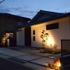 新築/オープン外構/夜/照明 新築 オープン外構 夜