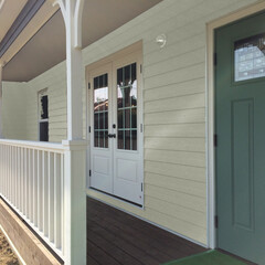 カリフォルニアスタイル/カバードポーチ/ウッドデッキ/平屋の家/アメリカンスタイル カバードポーチのある平屋建