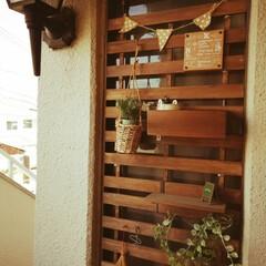 つっぱり棒/お風呂場/インテリア/玄関 玄関扉横にお風呂場の開かないガラス窓があ…