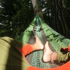 ハンモック/ムラブリハンモック/空中ベッド/地球とコネクト 木と木にハンモックを繋ぎ地球とコネクトし…