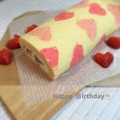 ハート♥️/デコロールケーキ/誕生日♡/ロールケーキ/キッチン/ハンドメイド/...