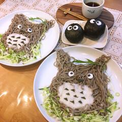 トトロのとろろ蕎麦/キッチン/フード/お蕎麦大好き♡/レシピ 大好きなトトロをお蕎麦に❤️ まっくろく…