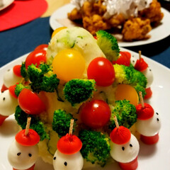 クリスマスパーティー/クリスマス 今年も不評のポテトサラダツリー作っちゃい…