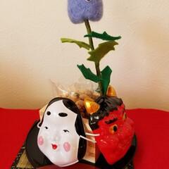 羊毛フェルト/節分飾り2020/ダイソー/ハンドメイド 柊鰯を羊毛フェルトで作ってみました😄(1枚目)