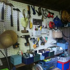 100均/ダイソー/セリア/DIY/収納/有孔ボード/... DIY道具を整理したくて 有孔ボードにか…