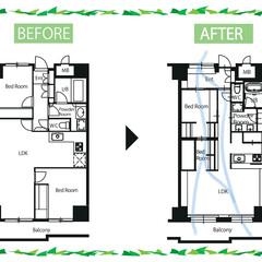 間取り/図面/Before/After/リノベーション/築30年 築31年のマンションをリノベーション。家…