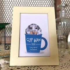 犬雑貨/アートフレーム/犬種別イラスト アートフレーム「CUP WAN」 アンテ…