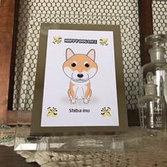 犬雑貨/ガラスのアートフレーム/オリジナルイラスト ガラスのアートフレーム「HAPPY DO…