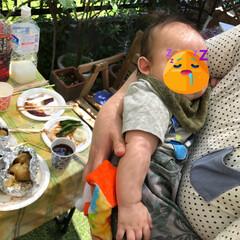 3ヶ月/男の子ママ/男の子/バーベキュー/BBQ/おでかけ/... 実家のお庭でBBQをしました🍖❤️  た…