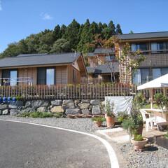 木造住宅/地域産木材/漆喰/自然素材 石巻白浜復興住宅南側外観です。