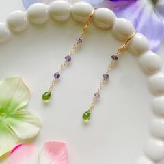 紫陽花/ピアス/ペリドット/アイオライト お散歩中の紫陽花が綺麗だったので紫陽花カ…