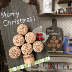 クリスマスツリー/手作り/100均/ハンドメイド/クリスマス/インテリア/... ★簡単DIY★ コルクと100均カッテ…