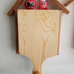 百均/カッティングボード/工作/DIY/廃材/モニターカバー/... 我が家の給湯器モニターカバー インターホ…