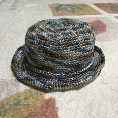 手編み帽子/カンカン帽/迷彩柄/ハンドメイド/エコアンダリア エコアンダリアかすり染め(カラーNo.2…