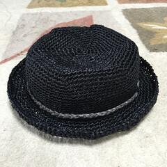 カンカン帽/ハンドメイド帽子/エコアンダリア/帽子/ハット かるがるやわらかカンカン帽 ブラックバー…