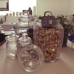 100均/セリア/キッチン/フルグラ/ガラス瓶/スチールカップ/... ホームセンターで安売りしてたガラス瓶にシ…
