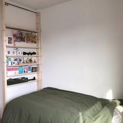 本棚DIY/高校生男子の部屋/ディアウォール 高校生長男の部屋。 ディアウォール棚には…