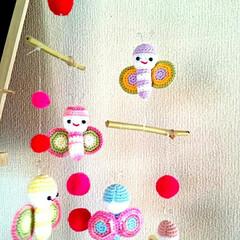 手作り雑貨/雑貨/ハンドメイド雑貨/ハンドメイド/レース編みあみぐるみ/レース編み/... 母のあみぐるみ✨前に作っていた蝶々をモー…