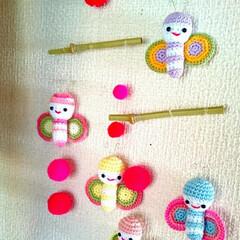 手作り雑貨/雑貨/ハンドメイド雑貨/ハンドメイド/レース編みあみぐるみ/レース編み/... 母のあみぐるみ✨前に作っていた蝶々をモー…(2枚目)