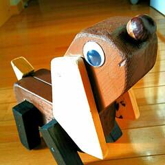 ダックスフント/犬/木工工作/インテリア/雑貨/DIY/... 木工の犬、完成しました🎵お鼻は栗です❤