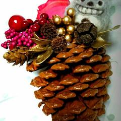 クリスマス手作り/ハンドメイド/クリスマス飾り/クリスマスインテリア/クリスマスツリー/クリスマスオーナメント/... クリスマスの飾り作りました。前に作ったト…