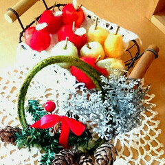 手作り/クリスマス飾り/クリスマスリース/クリスマスインテリア/クリスマス雑貨/クリスマス/... クリスマスムード🎵ミニリース作りました🎵…