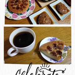 炊飯器ケーキ/バナナケーキ/野菜だらけのアヒージョ/肉肉しいハンバーグ/記念日/ねこ/... こんばんは🌃  今日は朝から雨降りで、ム…