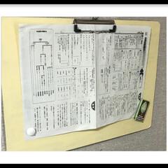 100均/マグネットボード/お便り/磁石/チョークペイント/DIY/... 100均クリップボードをマグネットボード…