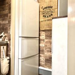 男前インテリア/カフェ風インテリア/壁紙屋本舗/After/壁ペイント/セルフリノベーション/... 新しい冷蔵庫は白にしました(^ ^) 前…
