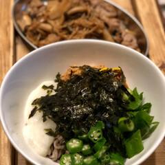 ネバネバ蕎麦/きのこ炒め/山芋/納豆/オクラ/お蕎麦 ネバネバ蕎麦始めました😁