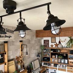 LED電球/DIY女子/カフェ風インテリア/男前インテリア/コンクリート壁紙/カウンター上棚diy/... LEDは熱くならんし電気代もお得 なんや…