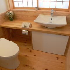 トイレ/便所/手洗器/器/製作/カウンター 建主さんが見つけた器を組み込んだカウンタ…