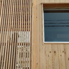 コンテナハウス/木/木装/外壁/格子/杉/... コンテナハウスの外装を木装化。外壁を貼り…