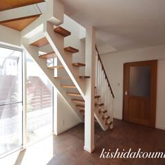 ストリップ階段/デザイン階段/ナチュナルな雰囲気/シンボルツリー/薄紅色ハナミズキ/素敵なリビング/... ストリップ階段の魅力を感じる素敵なリ…