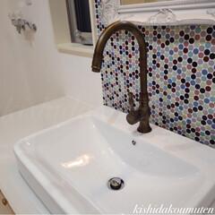 水栓金具/プロヴァンスハウス/注文住宅/宇治/京都/自然素材 美しいカーブのスワン型アンティーク輸入水…